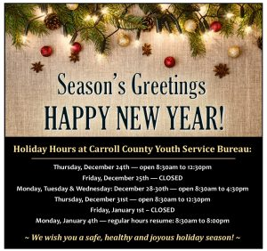 2020-21 Holiday Hours and closings